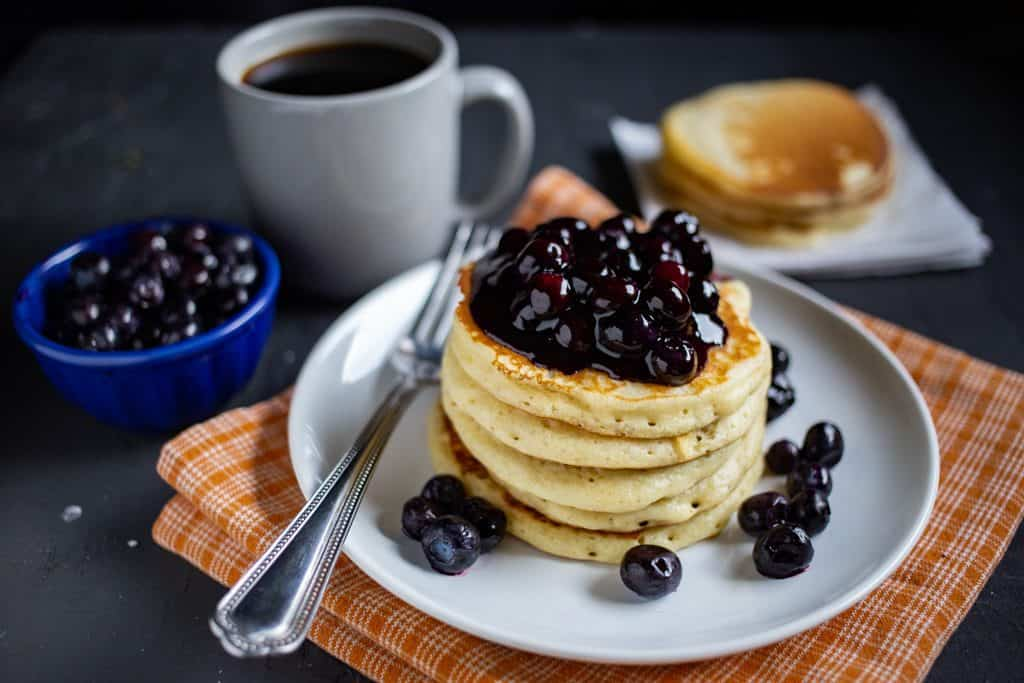 Buttermilk Pancakes with Blueberry Sauce