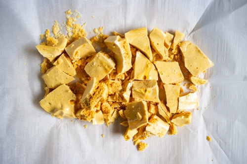 Homemade honeycomb candy broken into pieces
