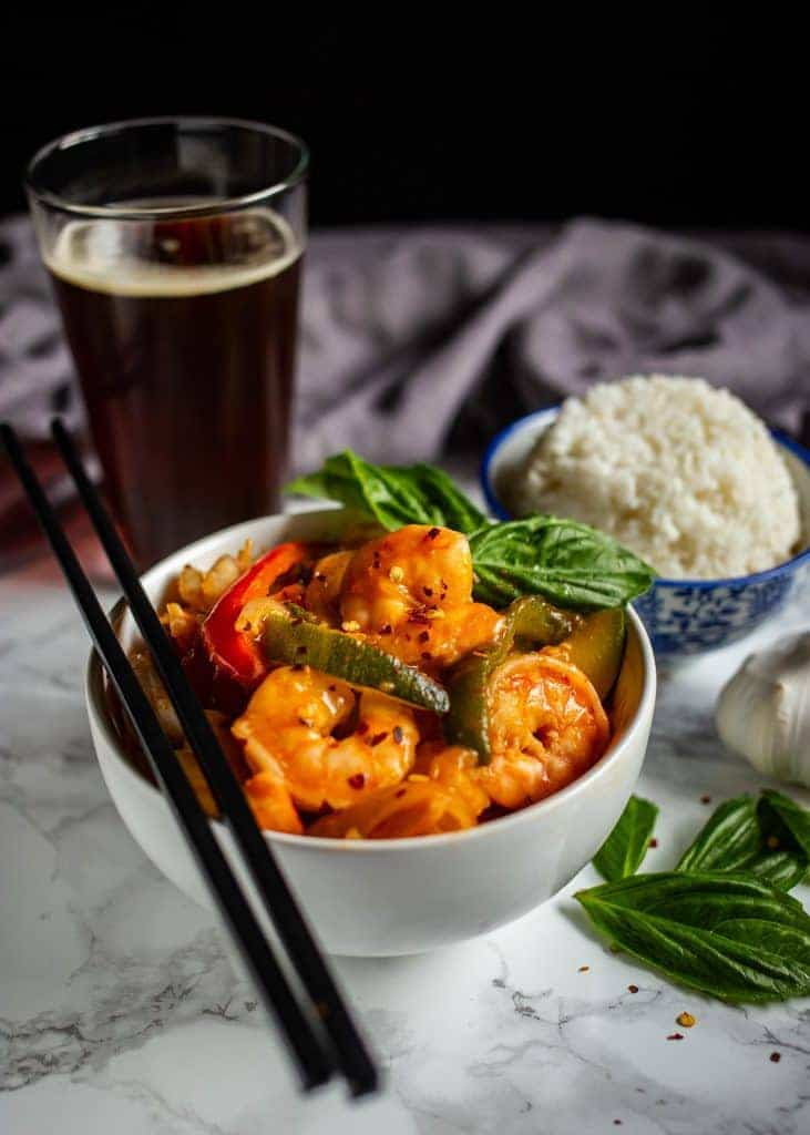 Thai Shrimp Curry in a White Bowl with Chopsticks