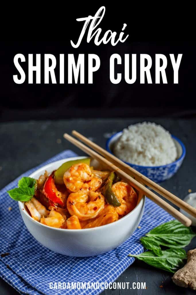 Thai Shrimp Curry in a White Bowl with Chopsticks