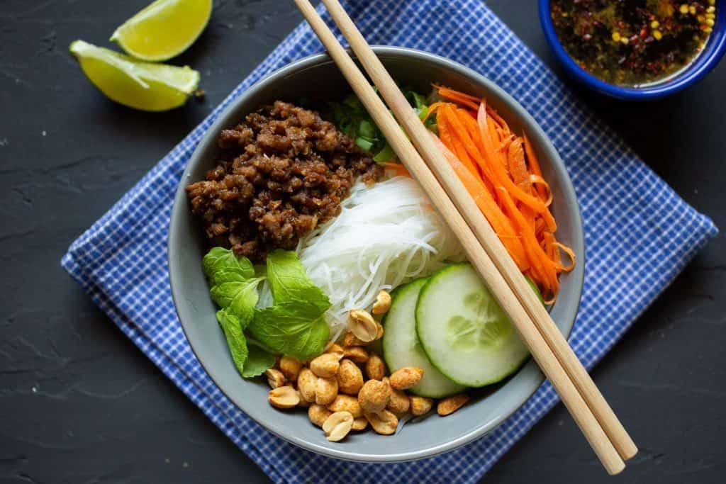 Vietnamese noodle bowl overhead shot