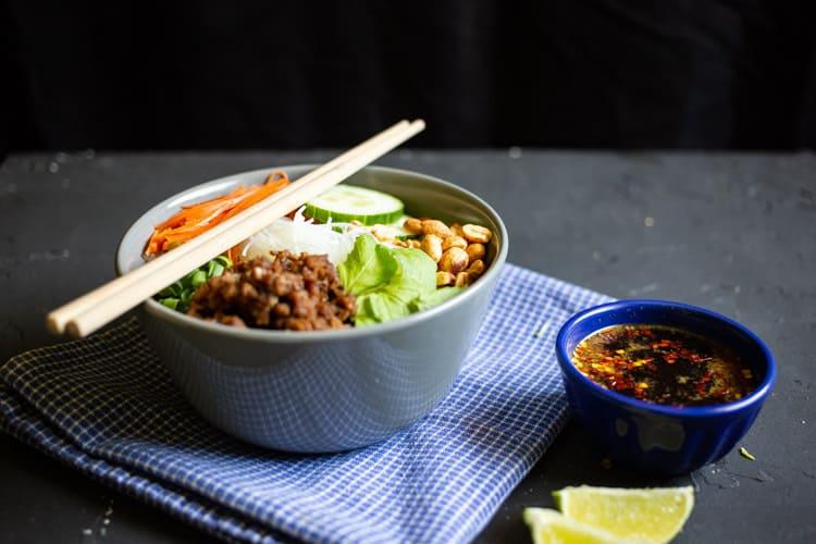 Vietnamese noodle bowl angled shot