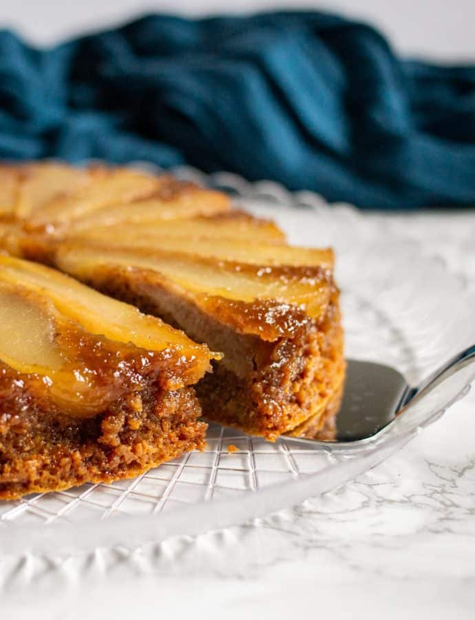 Pear-Walnut Upside-Down Cake #TheCakeSliceBakers