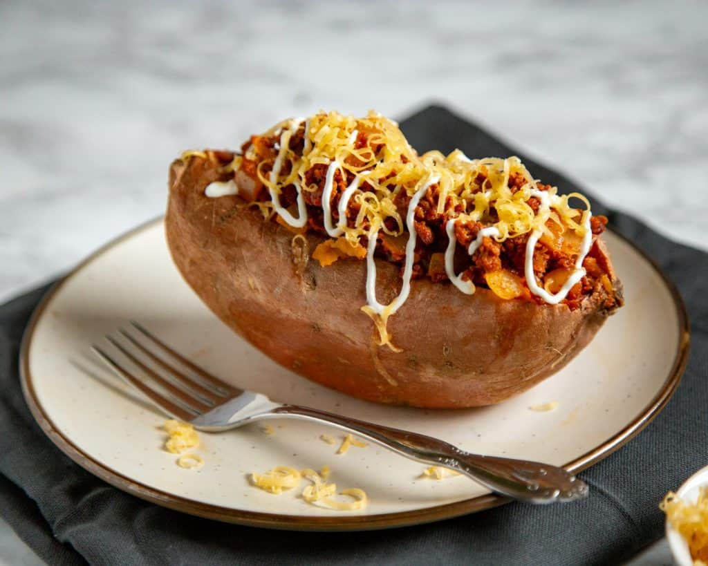 Vegetarian Chorizo Stuffed Sweet Potatoes