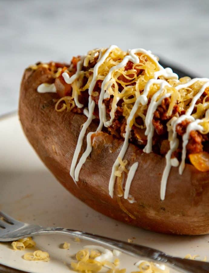 Vegetarian Chorizo Stuffed Sweet Potatoes