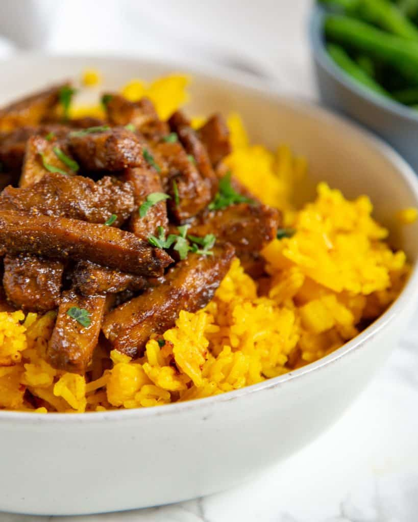 curry seitan with pineapple rice