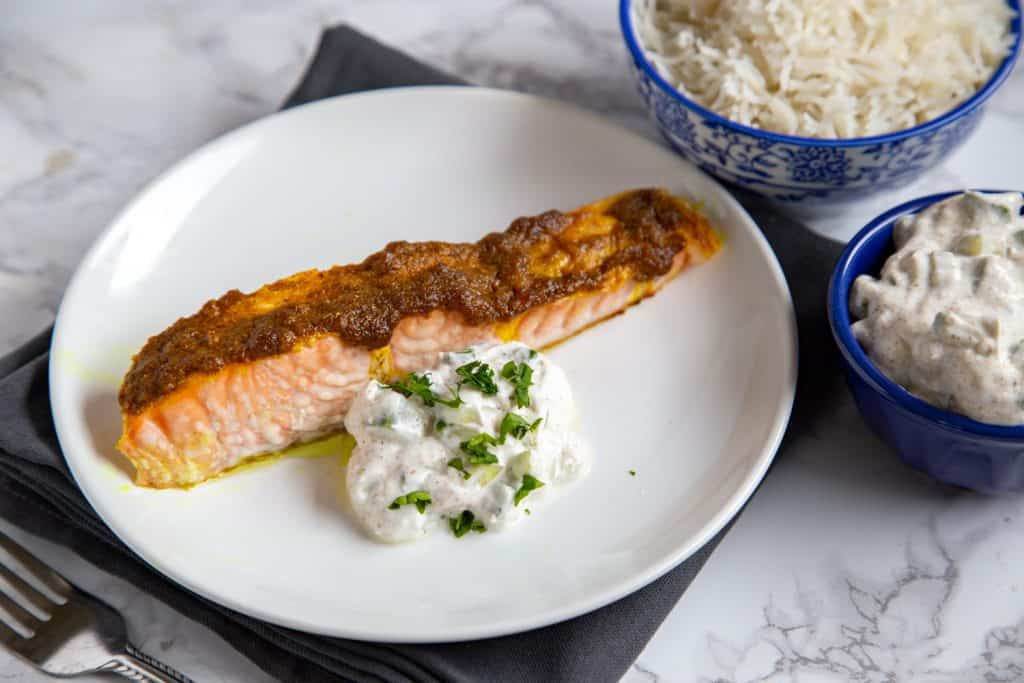 Indian Spiced Salmon with Cucumber Raita