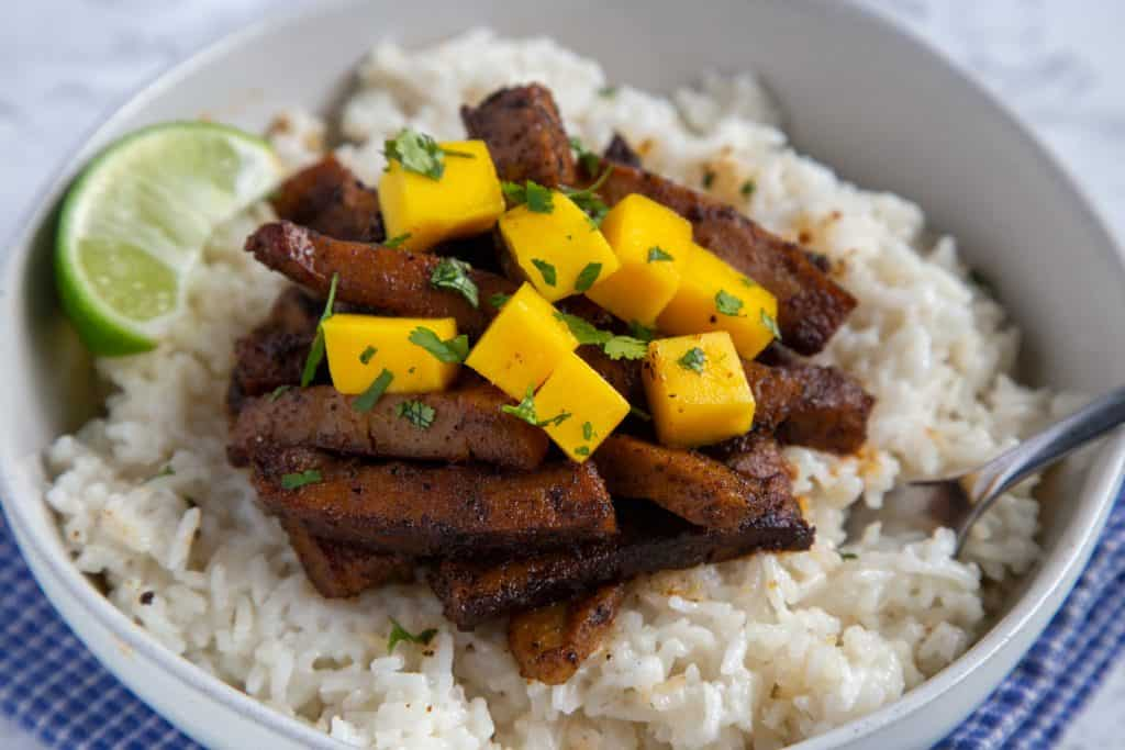 Jerk Seitan with Coconut Rice