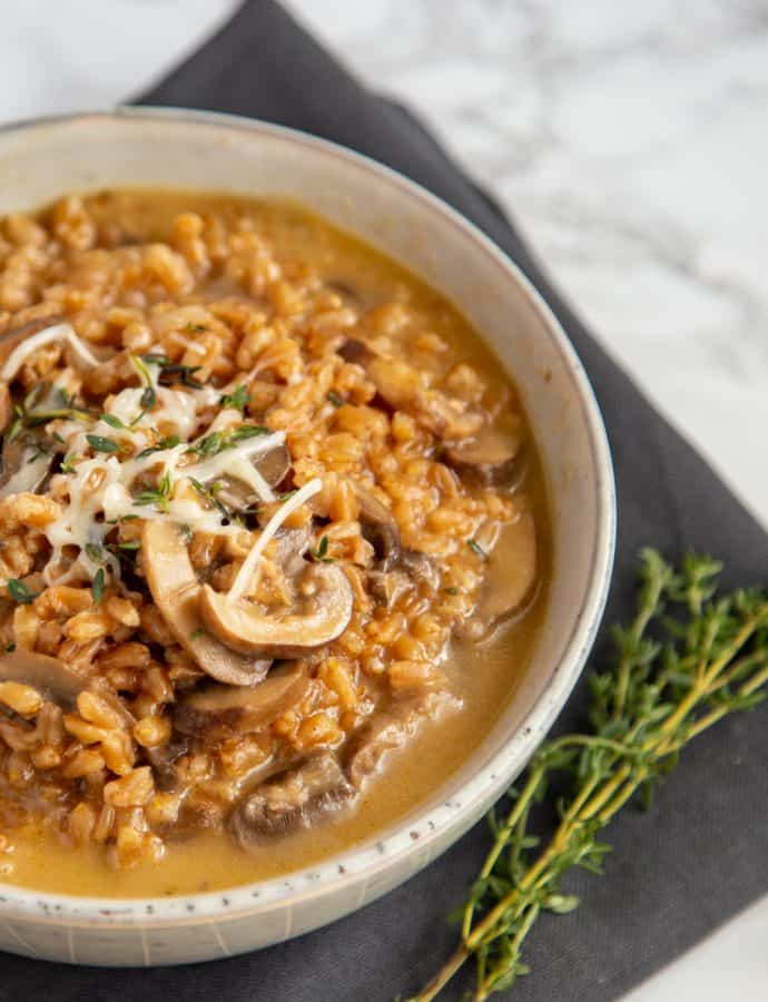Instant Pot Mushroom Farro Risotto