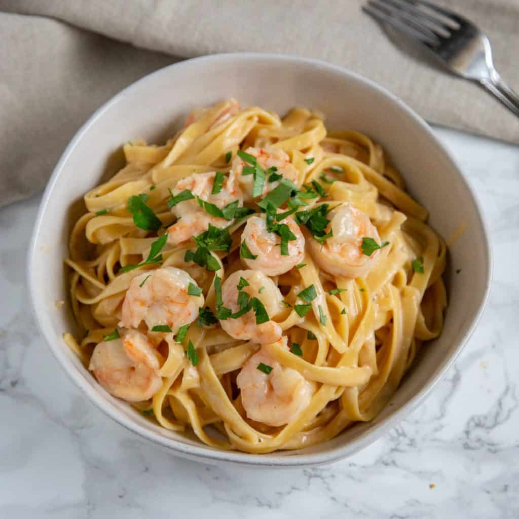 Instant Pot Garlic Shrimp in a bowl