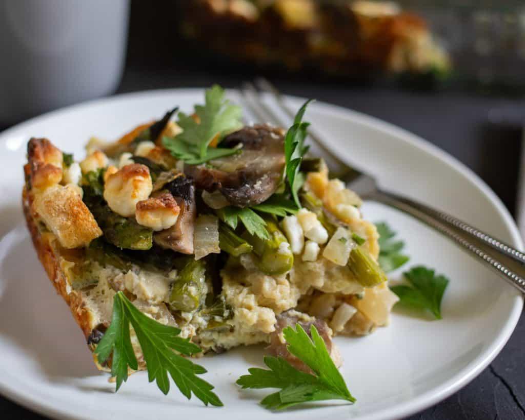 asparagus mushroom strata on a plate